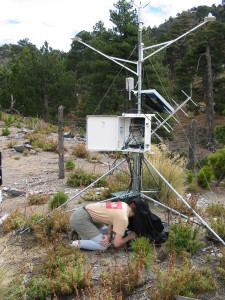 The author services a remote weather station at 3700m near Volcan de Colima in central Mexico