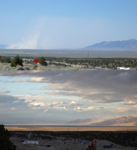 Dust can be a great indicator of airflow conditions. In the top image, dust from a playa in central Nevada is carried aloft with strong convective heating. Below (on a different day), the same dust is carried at ground level up and over the nearby mountain range as lateral airflow associated with frontal passage dominates.