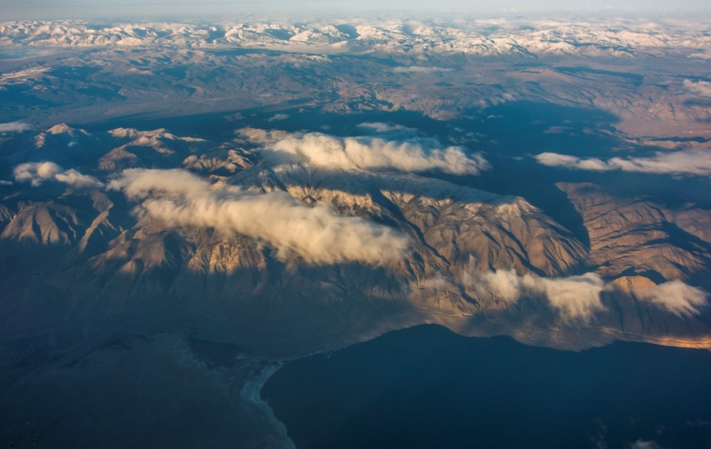Aerial photo of the essentials of the entire Walker Basin watershed. Walker Lake, the Wassuk Range, the interior valleys, and the headwaters in the Sierra are all visible in this one photo.