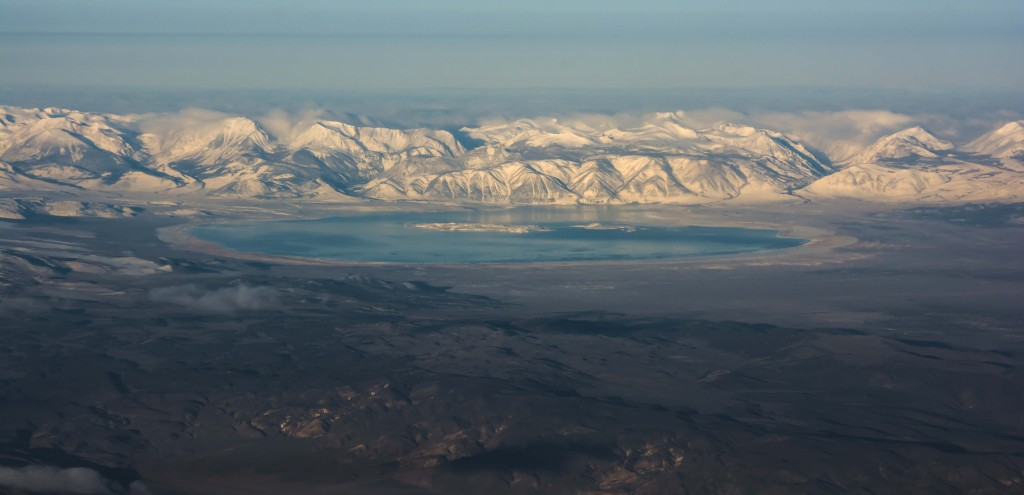 Aerial photo of Mono Lake on April 8th, 2015 taken from SWA Flight 719